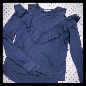 Wilt deconstructed sweatshirt-moss/charcoal gray